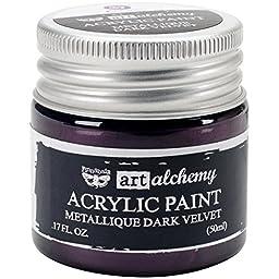 Prima Marketing 963125 Finnabair Art Alchemy Acrylic Paint, 1.7 fl. oz., Metallique Dark Velvet