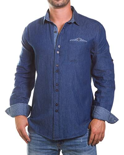 Isaac B Men's Button-Up Shirt with Contrasting Cuffs