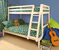 Triple Wooden Pine Bunk Bed 3ft & 4ft in a White Wash finish - Durleigh