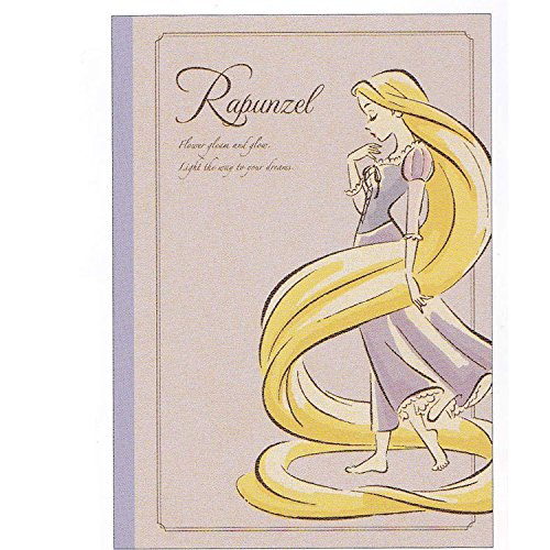 Japan Disney Official Tangled - Princess Rapunzel Floral Portrait Classic B5 Craft Notebook with Lined Page Purple Cover Student Study School Supply Paper Pad Book Wonderful Gift