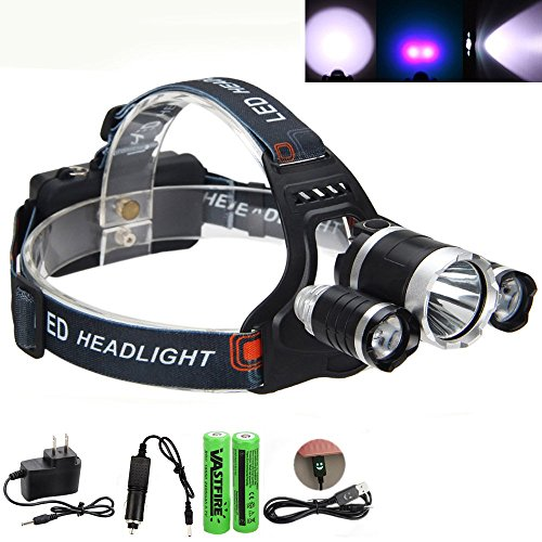 VastFire Headlamp Flashlight Led - Perfect for Dog Walking, Camping, Reading, Hiking, Backpacking, Kids; 18650 Batteries, Wall Charge, Car Charge, USB Cable (UV) (Kia Rio Ac Knob compare prices)