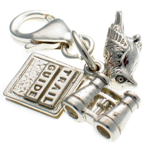 Welded Bliss Sterling 925 Silver Bird Watchers 3 Pt With Book & Binoculars Charm Clip Fit Wbc1270