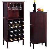 Giantex Wood Wine Rack Holder Storage Shelf Display w/ Glass Hanger (20-Bottle(Cabinet))