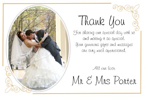 10 Personalised Wedding Thank You PHOTO Cards N183