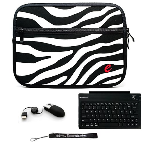 Black Zebra Design Slim Protective Soft Neoprene Cover Carrying Case Sleeve with Extra Pocket // Airport Check-Point-Friendly // For Acer Iconia Tab W500 Keydock Netbook Notebook 10.1 Inch Screen + Includes a Accessory Pack Of Slim Wireless Bluetooth Keyboard with USB Mini Mouse