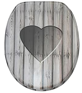 Soft Close Toilet Seat Stable Hinges Easy To Mount Wooden Heart Amazon