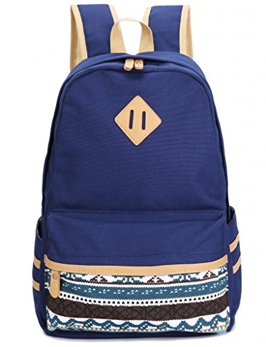 Leaper Causal Style Lightweight Canvas Laptop Bag/Cute backpacks/ Shoulder Bag/ School Backpack/ Travel Bag Navy Blue image