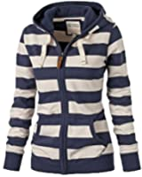 WANGSCANIS Women Plain Zipper Warm Hoodie Striped Hooded Jacket Coat