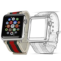 Creazy® Canvas Watch Band Strap With Buckle Connector For Apple Watch 42mm (White)