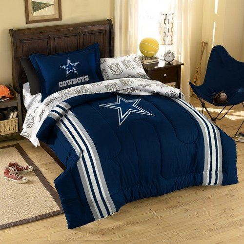 Dallas Cowboys Nfl Twin Comforter, Sheets & Sham (5 Piece Bed In A Bag)