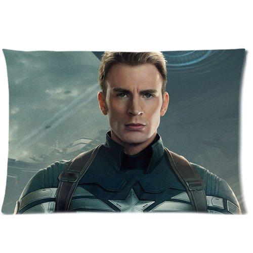 "Popular The Avengers-Chris Evans, motivo: Captain America Cases 50,80 x 30 cm x 76,20 (20"") Cuscino con zip, 2 lati"