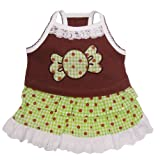 "Adorable ""Chocolate Mint Candy"" Dog Sundress with Lace Trims - M"