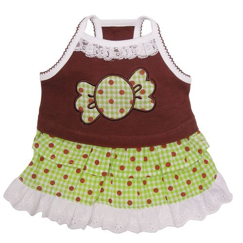 """Adorable """"Chocolate Mint Candy"""" Dog Sundress with Lace Trims - M"""