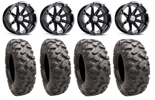 "Msa Black Diesel 14"" Atv Wheels 26"" Roctane Tires Kawasaki Teryx Mule"