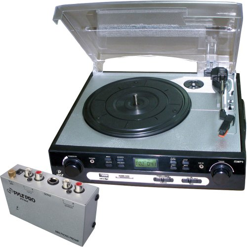 Pyle Turntable Record Player and Pre-Amplifier Package - PLTTB9U USB Turntable with direct-to-digital USB/SD Card Encoder & Built-in AM/FM Radio conversion - PP444 Ultra Compact Phono Turntable Preamp (Direct Drive Turntable Preamp compare prices)