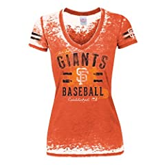 MLB Ladies Burnout Washed Baby Jersey Short Sleeve V-Neck Tee by 5th & Ocean