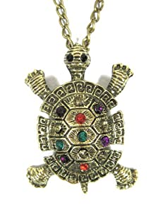 Sea Turtle Necklace Island Tortoise Gold Reptile ND48 Crystal Vintage Pendant Fashion Jewelry