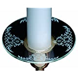 Biedermann & Sons Glass Bobeche Candle Rings With White Pattern Set Of 12