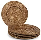 Core Bamboo Set of 4 Rattan and Bamboo Chargers, Mocha