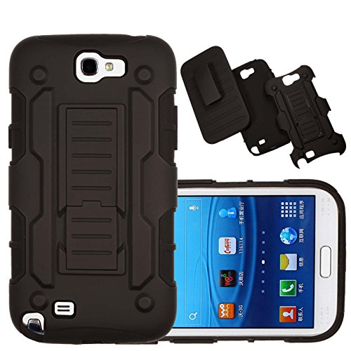 Note 2 Case, Galaxy Note 2 Case Kmall Shockproof Heavy Duty Protection Hybrid Full Body Rugged Case Rubber Dual Layer Holster Note 2 Cover for Samsung Galaxy Note 2 N7100 with Kickstand(Black) (Galaxy Note 2 Cases With Clip compare prices)