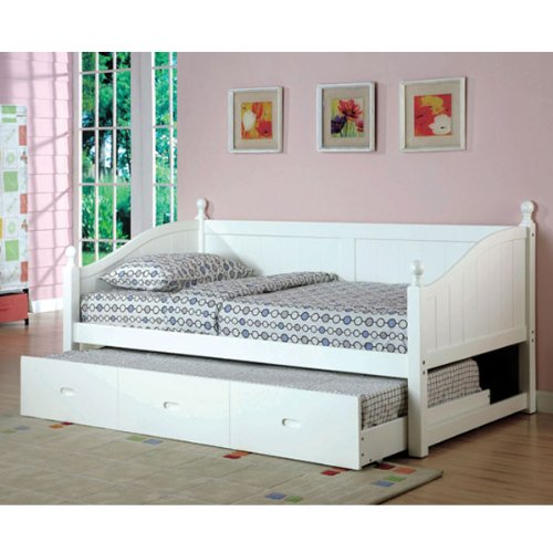 Boberta Mission Style White Finish Twin Size Daybed & Trundle Set front-987587