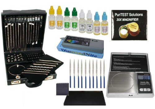 Professional Jeweler & Diamond Dealer Supplies- Jewelry Organizer Briefcase, Electronic Diamond Tester, Gold Purity Testing Acids, Carat/Coin Scale and Much More