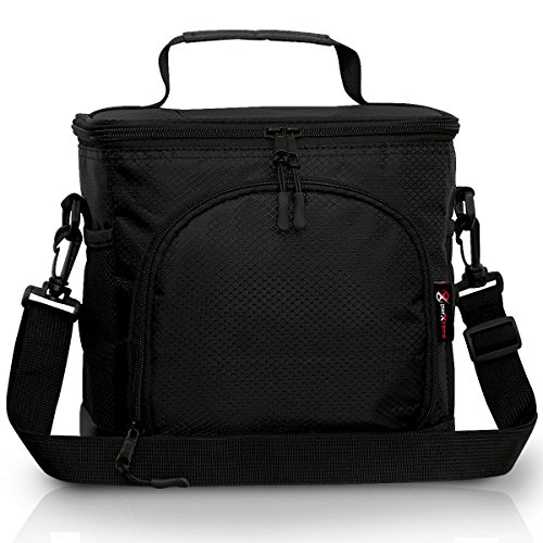 Pwrxtreme Insulated Lunch Bag with 2 Way Zipper Closures Double-sewn Nylon Large Mesh Side Pockets and 48-Inch Detachable Shoulder Strap (Insulated Lunch Bag Black compare prices)