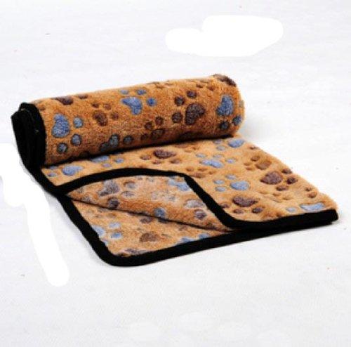 "Polar Fleece Soft Dog Cat Blanket Mat Paw Print (40*30""(L)) front-671009"