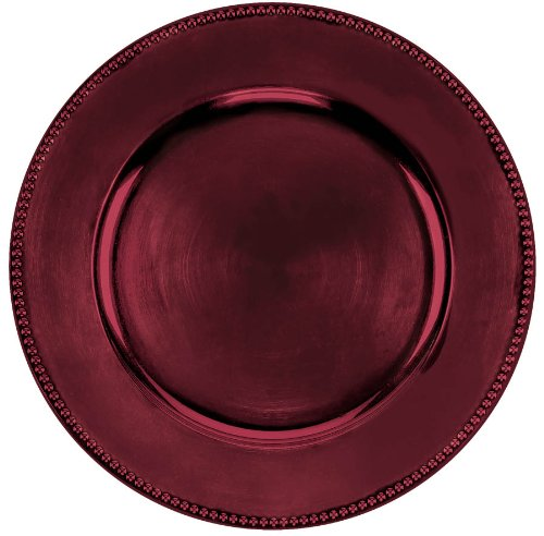 Burgundy Round 14in Metallic Charger - 1