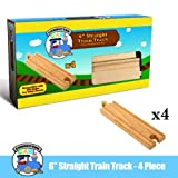 Four (4) Pcs Of 6 Inch Straight Wooden Train Tracks Compatible With THomas The Tank Engine. Made By