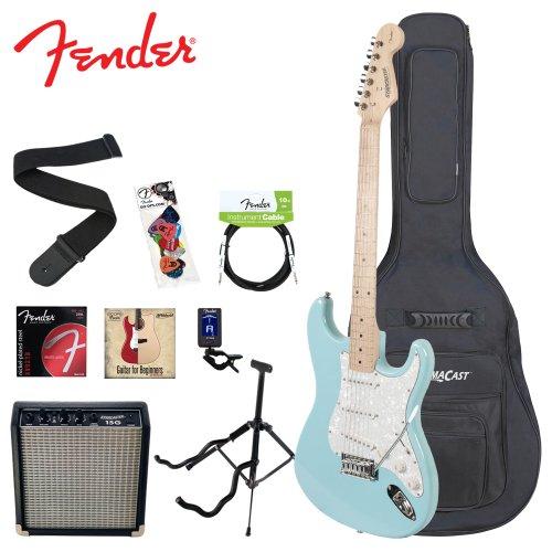 Fender Starcaster Vintage Daphne Blue Electric Guitar Kit - Includes: Stand, Strap, Strings, Gig Bag, Instructional DVD, Tuner, Fender/GoDpsMusic Pick Sampler, Cable & 15-Watt Amp.Pre-Order Today & Receive by December 10 - Limited Supply Available!
