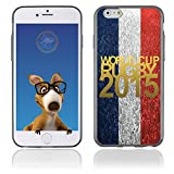Coque Souple en gel pour Apple iPhone 6 avec impression logo rugby doré et drapeau de la France...