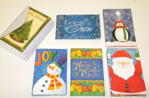 32 Assorted Christmas Greeting Card Set, Festive