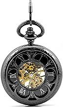 Infinite U 6 Hojas Afortunadas Trébol Números Romanos Hueco Esqueleto Reloj de bolsillo mecánico Negro