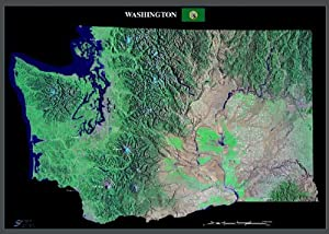 "Washington from space satellite map/print poster/photo: 36.5"" x 26"" Glossy"