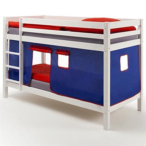 Lits superposés en pin lasuré blanc MAX avec rideaux bleu/rouge