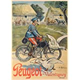 BICYCLETTE PEUGEOT Vintage Sur Format A3 Papiers Brillants de 250 g. Reproduction d'affiche