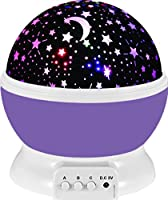 Baby Night Light Lamp Uinstone Moon Star Projector 360 Degree Rotation Romantic Rotating Cosmos Star Sky Moon Projector for Children Kids Bedroom - 9 Light Color Changing With 4.9 FT (1.5 M) USB Cable by Uinstone