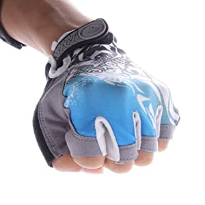 High Quallity Elastic & super soft breathable Lycra material Velcro Strap Padded Ventilated Bike Bicycle Cycling Mountain Road Half Gel Silicone Antiskid Finger Gloves/ Half Finger Gloves / Sport Gloves Mitten/ Fingerless Cycle mitts