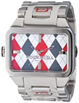 Rockwell Time Unisex DT103 Duel Time Stainless Steel Silver and Red Argyl Watch