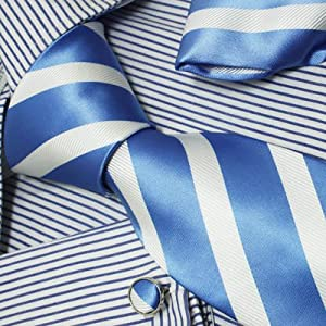 Ph1008 Italian Style Blue White Stripes 100% Jacquard Woven Silk Tie Hanky Neck Tie for Him and Cuff Links Cufflinks for Men and Handkerchiefs Set with Presentation Box