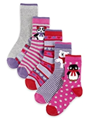 5 Pairs of Cotton Rich Penguin Socks