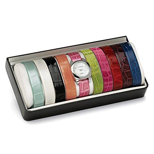 palm-beach-jewelry-coffret-cadeau-montre-argentee-bracelets-interchangeables-cuir-gaufre-18-cm