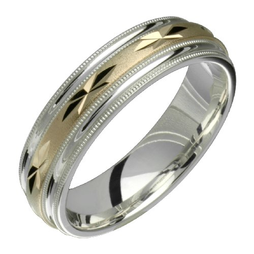 Elegance &#8211; Stunning Two Tone Comfort Fit Wedding Band for Him &#038; Her! Custom Made! Choose your Size.