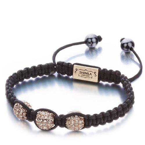 Shimla SH 085 Triple Fire Ball Bracelet - Alloy Rose Gold Plated White Czech Crystal Bead Bracelet