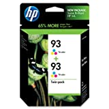 HP 93 CC581FN Tri-Color Ink Cartridge in Retail Packaging, Twin Pack