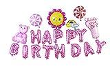 Lumierechat 特大セット かわいい 誕生日 HAPPYBIRTHDAY バルーン 3m ●空気入れ付き● (ピンク)