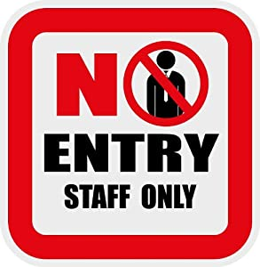 "Amazon.com : No Entry Staff Only Attention Sign 5""x 5"" : Patio, Lawn"
