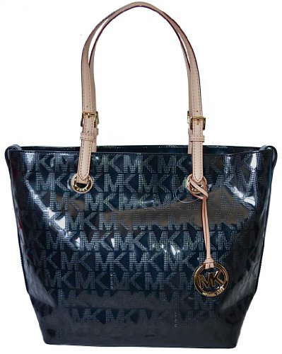 Michael Kors Logo Mirror Metallic Black Grab Bag Shoulder Tote Handbag Purse
