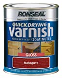 Ronseal QDVGM250 250ml Quick Dry Varnish Coloured Gloss - Mahogany